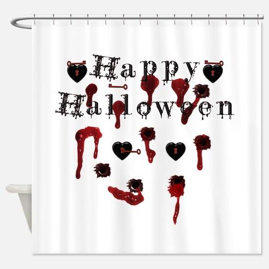 Happy Halloween gunbloodshot.png Shower Curtain