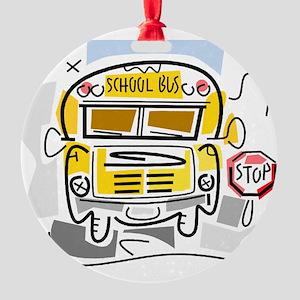 j0410911_school bus Round Ornament