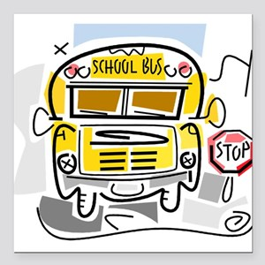 "j0410911_school bus Square Car Magnet 3"" x 3"""
