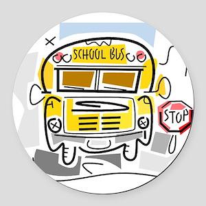 j0410911_school bus Round Car Magnet