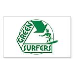 Green Surfers Back Sticker (Rectangle 10 pk)