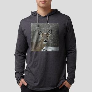 Snowy Winter Deer Mens Hooded Shirt