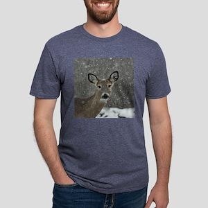 Snowy Winter Deer Mens Tri-blend T-Shirt