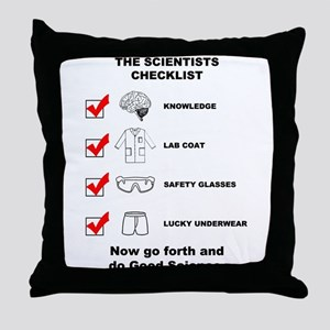 The Scientists Checklist Throw Pillow