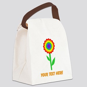 Flower in Rainbow Colors. Canvas Lunch Bag