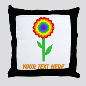 Flower in Rainbow Colors. Throw Pillow