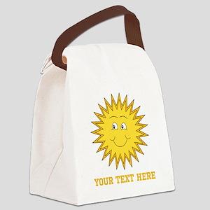 Sun with Custom Text. Canvas Lunch Bag