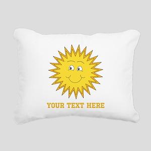 Sun with Custom Text. Rectangular Canvas Pillow