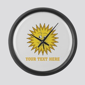 Sun with Custom Text. Large Wall Clock