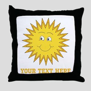 Sun with Custom Text. Throw Pillow
