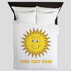 Sun with Custom Text. Queen Duvet