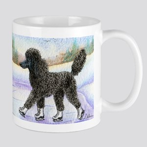 Black poodle takes to the ice Mug
