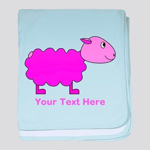 Pink Sheep with Custom Text. baby blanket