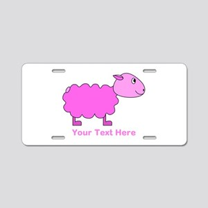 Pink Sheep with Custom Text. Aluminum License Plat