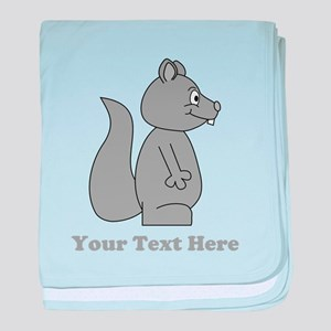 Squirrel with Gray Custom Text. baby blanket