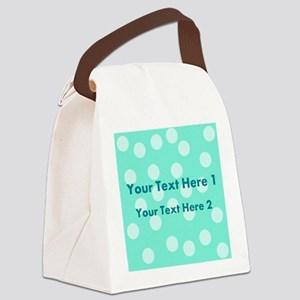 Teal Dots with Text Canvas Lunch Bag