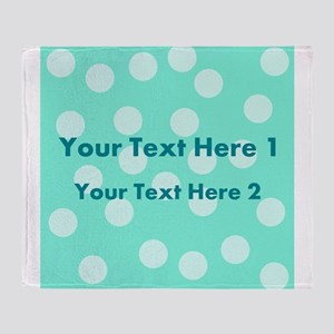 Teal Dots with Text Throw Blanket
