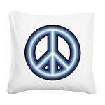 Blue Peace Symbol Square Canvas Pillow