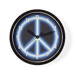 Blue Peace Symbol Wall Clock
