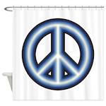 Blue Peace Symbol Shower Curtain