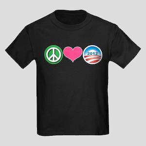 Peace, Love, Obama Kids Dark T-Shirt