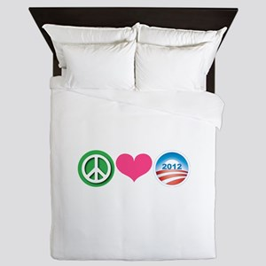 Peace, Love, Obama Queen Duvet