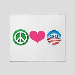Peace, Love, Obama Throw Blanket