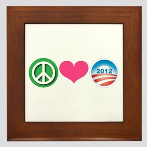 Peace, Love, Obama Framed Tile