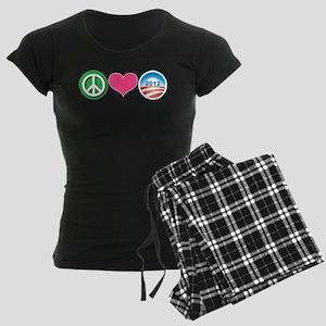 Peace, Love, Obama Women's Dark Pajamas