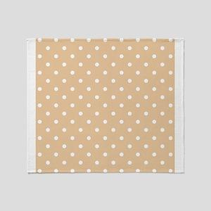 Beige and White Dot Design. Throw Blanket