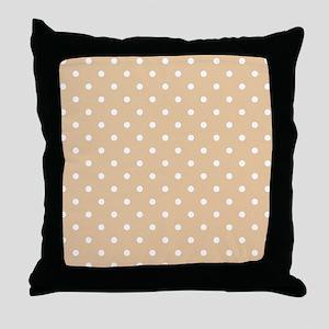 Beige and White Dot Design. Throw Pillow