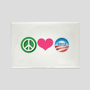 Peace, Love, Obama Rectangle Magnet