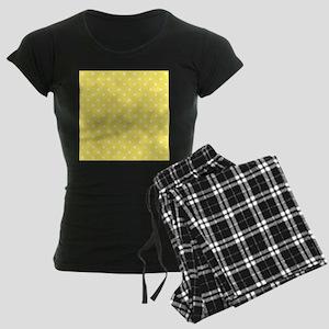 Yellow and White Dot Design. Women's Dark Pajamas