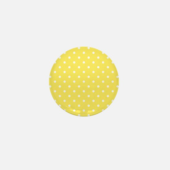 Yellow and White Dot Design. Mini Button