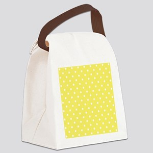 Yellow and White Dot Design. Canvas Lunch Bag
