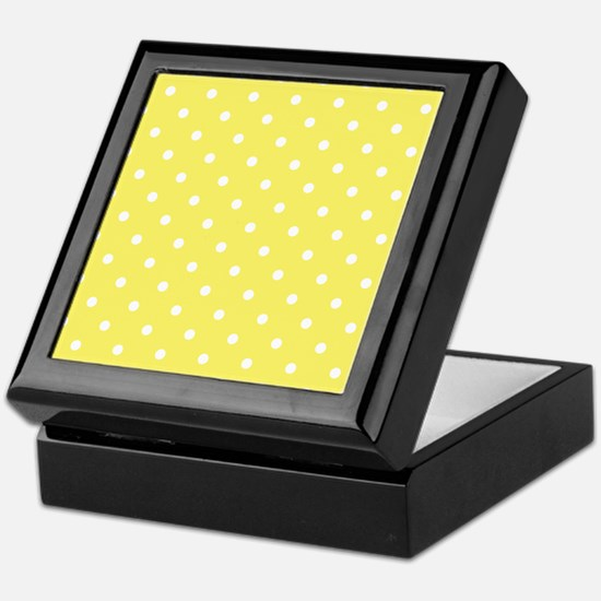 Yellow and White Dot Design. Keepsake Box