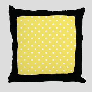 Yellow and White Dot Design. Throw Pillow