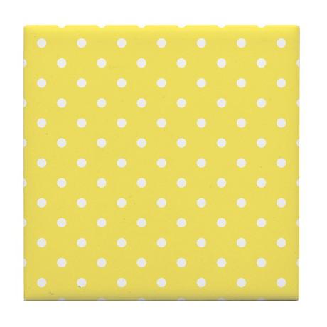Yellow and White Dot Design. Tile Coaster