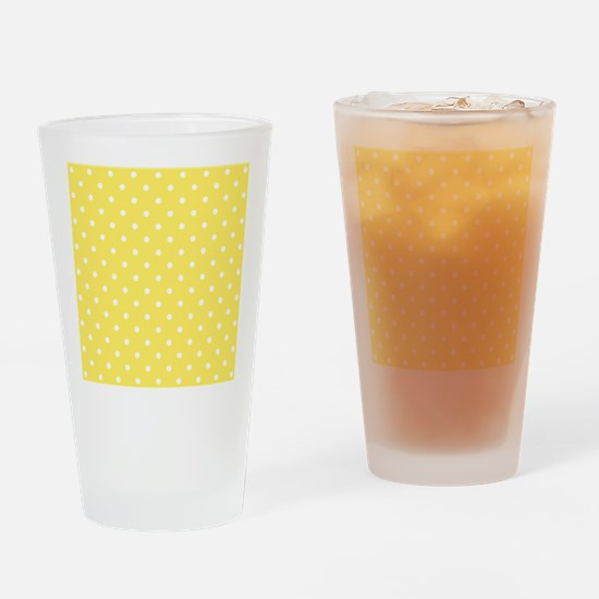 Yellow and White Dot Design. Drinking Glass