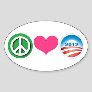 Peace, Love, Obama Sticker (Oval)