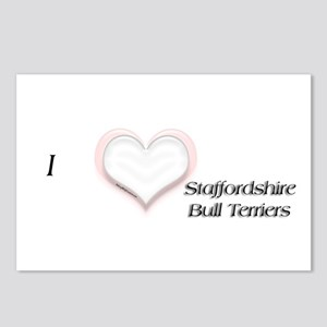 I heart Staffordshire Bull Terriers Postcards (Pac