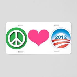 Peace, Love, Obama Aluminum License Plate