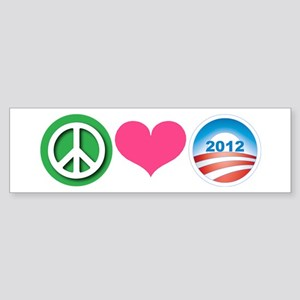 Peace, Love, Obama Sticker (Bumper)