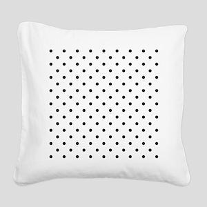 Black Polka Dot Pattern. Square Canvas Pillow