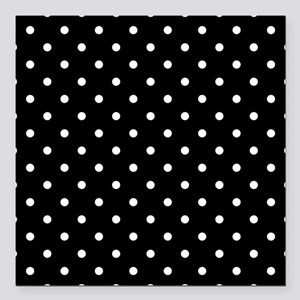 "Black and White Polka Dot. Square Car Magnet 3"" x"
