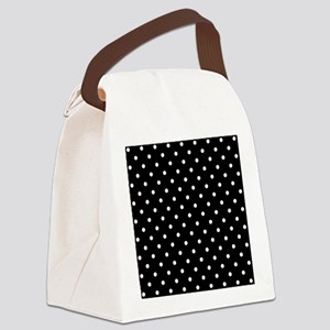 Black and White Polka Dot. Canvas Lunch Bag