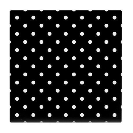 Black and White Polka Dot. Tile Coaster