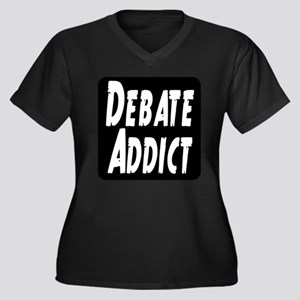 Debate Addict Women's Plus Size V-Neck Dark T-Shir
