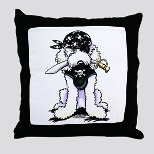 Poodle Pirate Throw Pillow