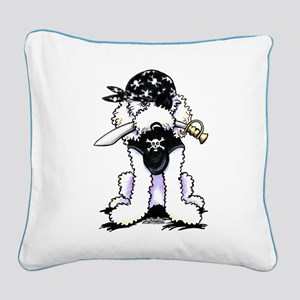 Poodle Pirate Square Canvas Pillow